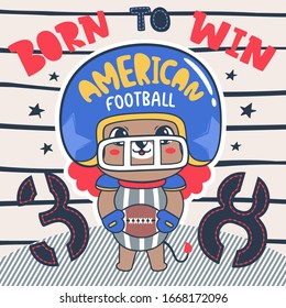 """Baby lion american football player holding ball with text """"born to win"""" on striped background illustration vector."""