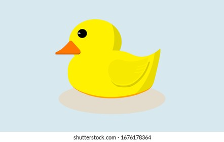 Baby little duck vector with shadow isolated on light blue background, flat vector for mobile and computer web graphic design