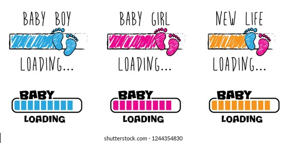 Baby Loading bar New life Baby coming soon gender reveal symbol baby girl baby boy icon vector born in footstep footprints foot feet hand Fun funny happy Pretty Pregnant Bump newborn heart love party