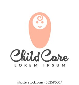 Baby logo. Baby care icon. Child care logo. Child care center logo. Child care icon
