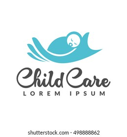 Baby logo. Baby care icon. Mother hand and baby icon. Child care logo. Child care icon. Mother and baby icon. Child sleeping sign. Motherhood, mothers day, pregnancy, pregnant, center sign.
