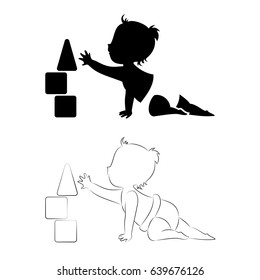 Baby logo element. A silhouette of a small kid playing with baby blocks. Vector illustration.