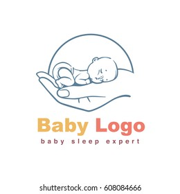 Baby logo template. Baby sleeping on hand. Concept of baby care, safety, parenting, in vitro fertilization. Emblem for sleep training center, Sign for sleep expert. Line art vector illustration.