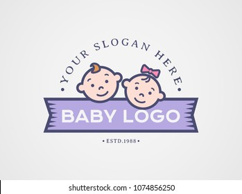 Baby logo. Vector symbol with children faces - boy and girl. Cute design isolated on white background.
