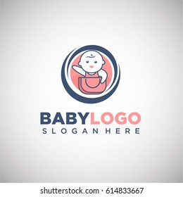 Baby Logo vector Template In Circle Shape for Baby Shop, Maternity store and Business company. Vector Illustration eps.10