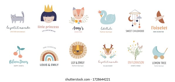 Baby logos, icons, children room, nursery decoration in pastel colors. Vector illustrations in retro style