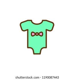 Baby loose jacket filled outline icon, line vector sign, linear colorful pictogram isolated on white. Infant bodysuit symbol, logo illustration. Pixel perfect vector graphics