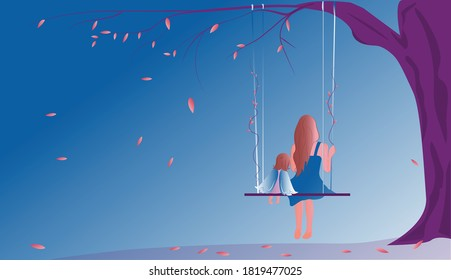 Baby Loss Awareness Week. Pregnancy and Infant Loss Remembrance Day.  Illustration of an autumn tree with a swing on which sits a mother with a baby angel.  Falling leaves.