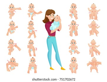 Baby massage set with mother and baby flat isolated vector illustration