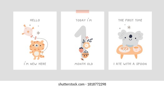 Baby milestone cards with cute cartoon little animal characters for newborn girl or boy. Baby shower print capturing all the special moments. Baby month anniversary card. Nursery prints
