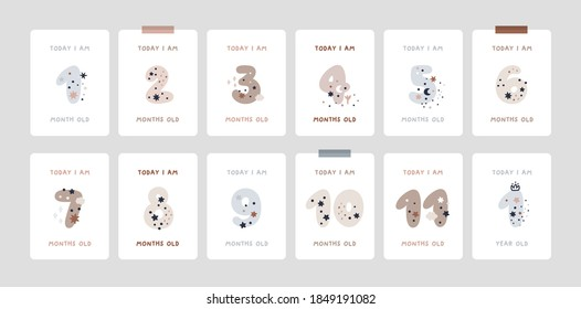 Baby Milestone Cards with numbers in pastel colors. Baby's first 12 months. Baby's first year baby boy or girl shower gifts. Capture all the special moments of little one's in first year
