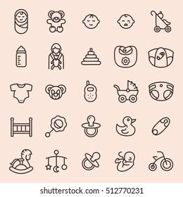 Baby minimal line icon set