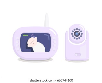 Baby monitor and camera vector isolated illustration. Electronic nanny in light purple color. Screen with a baby on it
