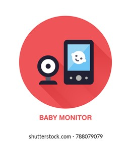 Baby monitor flat style icon. Wireless technology, video device sign. Vector illustration of communication equipment for electronics store.