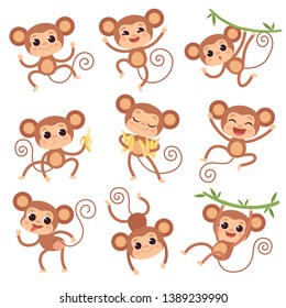 Baby monkey. Wild cartoon animals playing and eating banana vector characters of monkeys