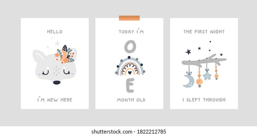 Baby month anniversary card. Baby milestone cards with cute wolf, fox character and rainbow. Baby shower print capturing all the special moments.  Nursery prints for newborn girl or boy