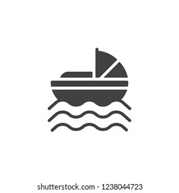 Baby Moses in River vector icon. filled flat sign for mobile concept and web design. Baby Moses Basket simple solid icon. Symbol, logo illustration. Pixel perfect vector graphics
