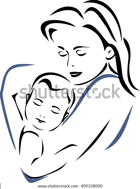 baby-mother-outline-drawing-vector-600w-