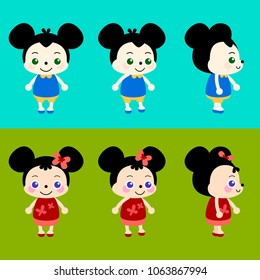 Baby mouse boy and girl character like cartoon mickey mouse