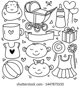 Baby and newborn doodle for icon, banner. Cartoon sketch style doodle with baby girl and boy toy, food, ball, balloon, moon, star, milk bottle, birthday elements. hand drawn and Vector illustration