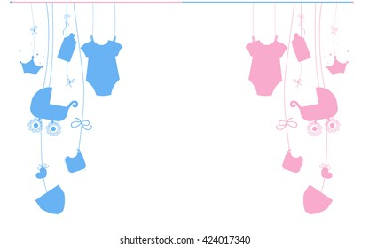 Baby newborn hanging baby boy baby girl symbols illustration