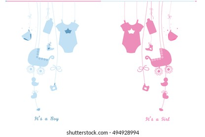 Baby newborn hanging baby boy baby girl symbols illustration. Its a boy. Its a girl
