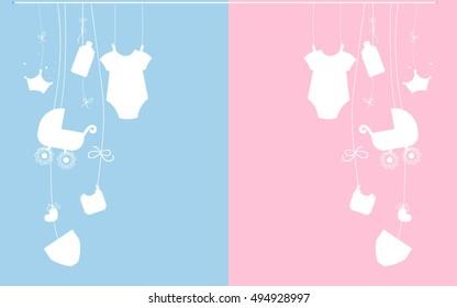 Baby newborn hanging baby boy baby girl symbols illustration pink, blue vector illustration