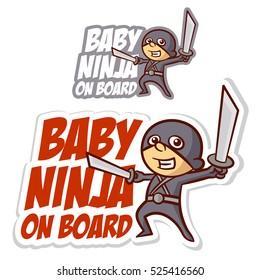 Baby Ninja on Board Sticker Set Vector Illustration