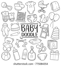 Baby Nursery Traditional Doodle Icons Sketch Hand Made Design Vector