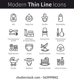 Baby nursing and health care products thin line art icons. Newborn toddler care, hygiene. Linear style illustrations isolated on white.