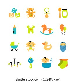 Baby objects icons. Image of a teddy bear, a bottle, a pacifier, rubber duck, a diaper, food, rattle, socks, rocker, shower, clothes, ballon, a baby carriage and a letter toy. Funny icons.