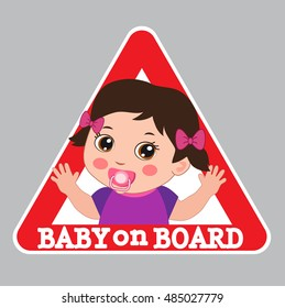 Baby On Board Bumper Sticker Vector Illustration. Baby Girl On Board Color Sign.