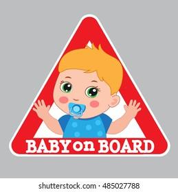 Baby On Board Bumper Sticker Vector Illustration. Baby Boy On Board Color Sign.