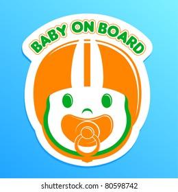 baby on board bumper sticker, vector illustration