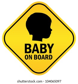 Baby on board emblem, vector illustration