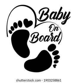 Baby on board. Footprint vector symbol.