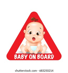 Baby on board red triangle warning sign for vehicle safety. isolated on white background