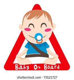 Baby on board red triangle warning sign for vehicle safety with seatbelt
