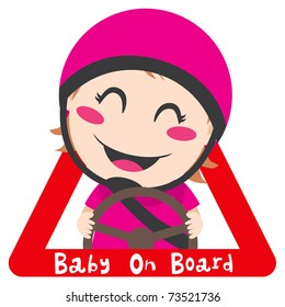 Baby on board red triangle warning sign for safe driving with pink helmet