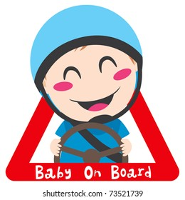 Baby on board red triangle warning sign for safe driving with blue helmet
