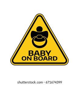 Baby on board sign with child nipple silhouette in yellow triangle on a white background. Car sticker with warning. Vector illustration.
