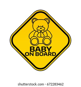Baby on board sign with child bear toy silhouette in yellow rhombus on a white background. Car sticker with warning. Vector illustration.