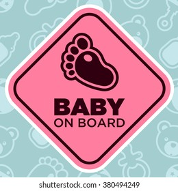 Baby on Board Sign with Baby Feet
