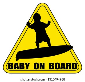 A baby on board sign silhouette surfing