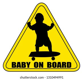 A baby on board sign silhouette skateboarding
