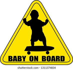 A baby on board sign silhouette skateboarding No Background