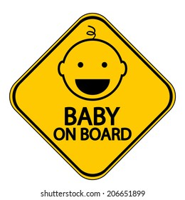 Baby on board sign on white background. Vector illustration.