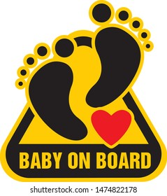 Baby on board sign on Yellow background. Vector illustration.