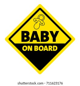 Baby on board signboard yellow and black color, a board displaying the name or logo of a Baby on board
