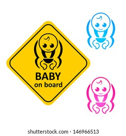 Baby on board sticker and color symbols